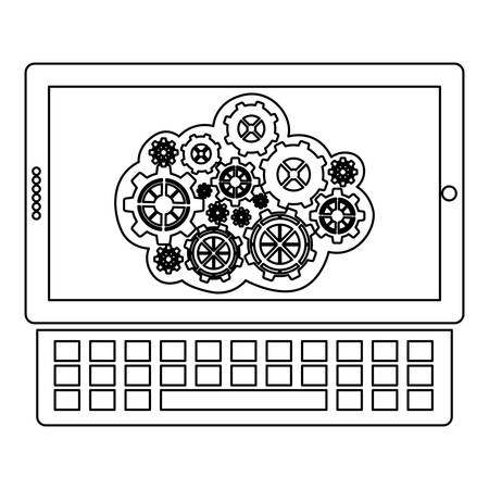 estimating: concept of maintenance service online of tablet and keyboard vector illustration
