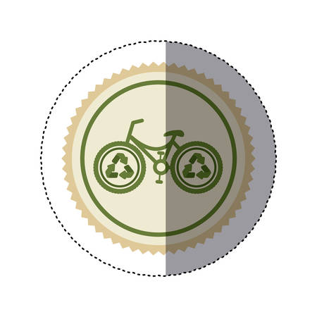 color circular frame sticker with bike with recycling symbol vector illustration