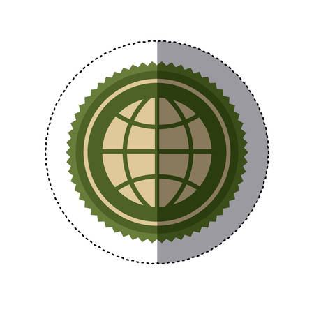 color circular frame sticker with ecologic world vector illustration