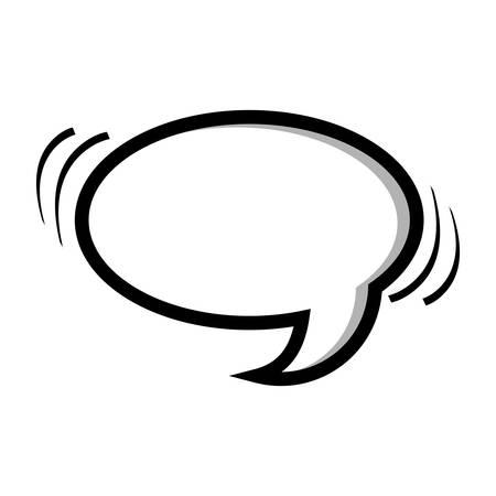Monochrome silhouette oval shape dialog box illustration.