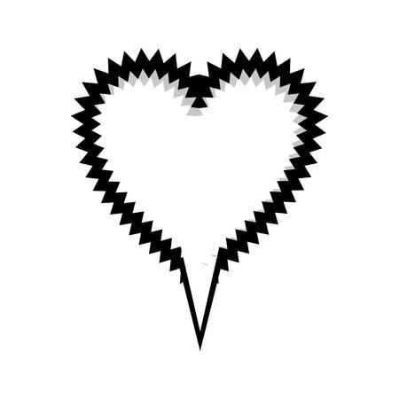 monochrome silhouette heart shape callout scream for dialogue vector illustration