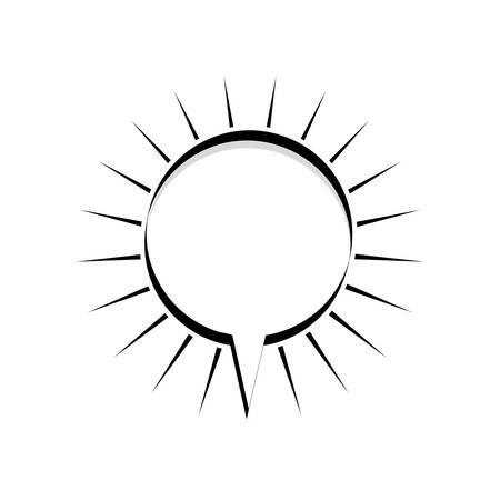 monochrome silhouette circular shape dialog box with lines around vector illustration