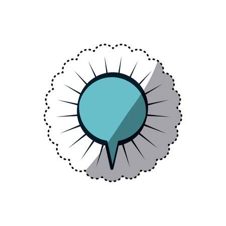blue sticker circular shape dialog box with lines around vector illustration Illustration