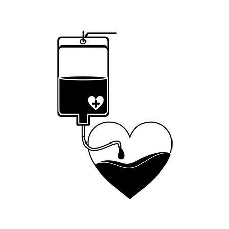 transfuse: silhouette bag donate blood and heart shape vector illustration