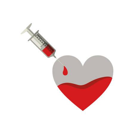transfuse: silhouette Needle syringe donate blood in heart shape vector illustration