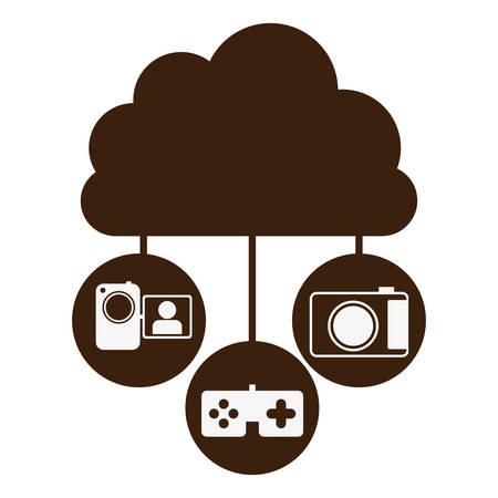 cumulus cloud: brown cloud in cumulus shape connected to tech device vector illustration Illustration