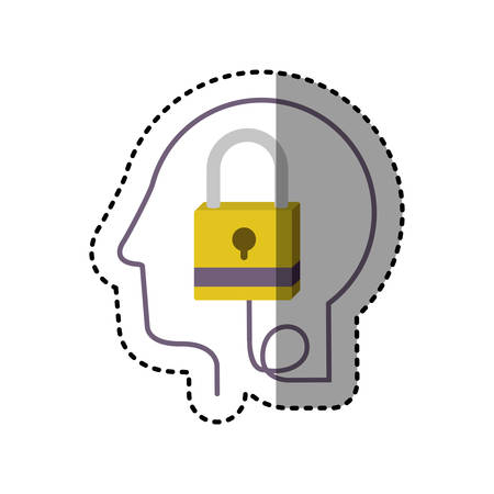 sticker silhouette profile human head with closed padlock vector illustration Illustration