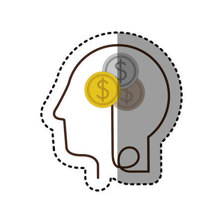 sticker silhouette profile human head with coins with dollar symbol vector illustration