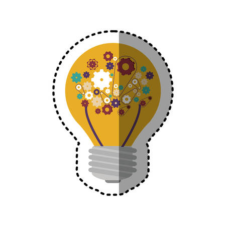 sticker light bulb with filaments and gear wheel collection vector illustration Illustration