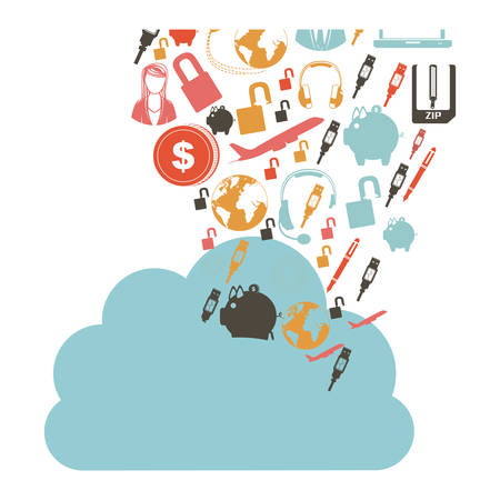 cumulus cloud: cloud in cumulus shape with set collection investment and tech vector illustration Illustration