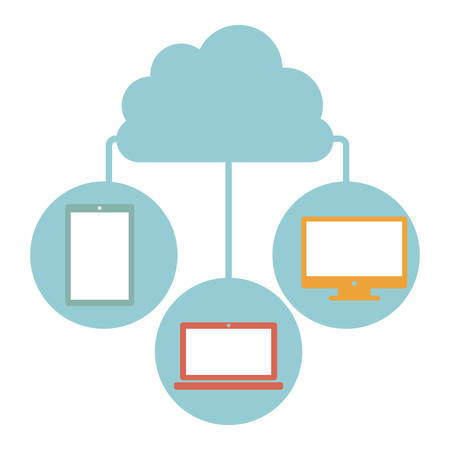 usb memory: cloud in cumulus shape connected to tech device vector illustration