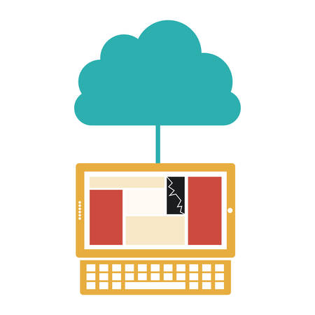 cumulus cloud: cloud in cumulus shape connected to laptop vector illustration Illustration