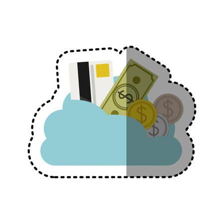 cumulus cloud: sticker cloud in cumulus shape with elements investment vector illustration