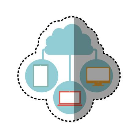 cumulus cloud: sticker cloud in cumulus shape connected to tech device vector illustration