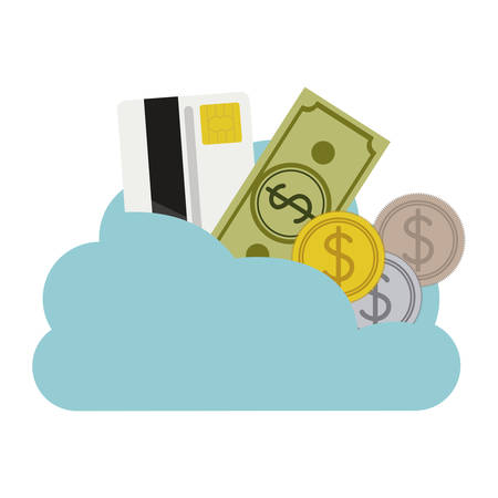 cloud in cumulus shape with elements investment vector illustration