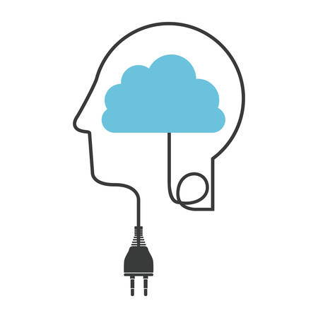 silhouette profile human head with plug connector and cloud vector illustration