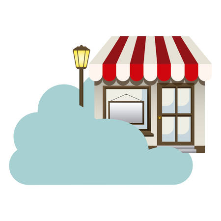 cumulus cloud: cloud in cumulus shape with store with lamp vector illustration