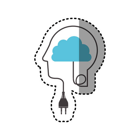 sticker silhouette profile human head with plug connector and cloud vector illustration Illustration