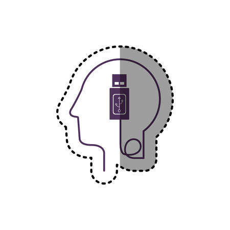 sticker silhouette profile human head with usb device vector illustration Illustration