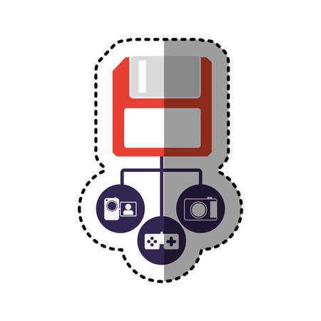 sticker colorful diskette storage device icon stock vector illustration