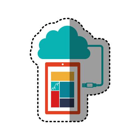sticker tech smartphone cloud storage vector illustration