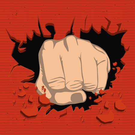 colorful realistic fist breaking wall vector illustration