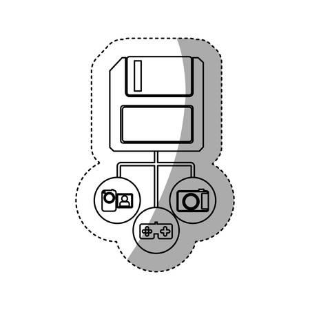 sticker silhouette diskette storage device icon stock vector illustration