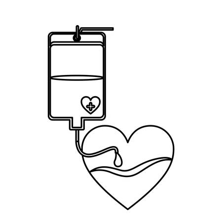 transfuse: contour bag donate blood and heart shape vector illustration