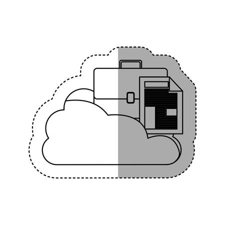 cumulus cloud: sticker contour cloud in cumulus shape with briefcase and document with fold vector illustration