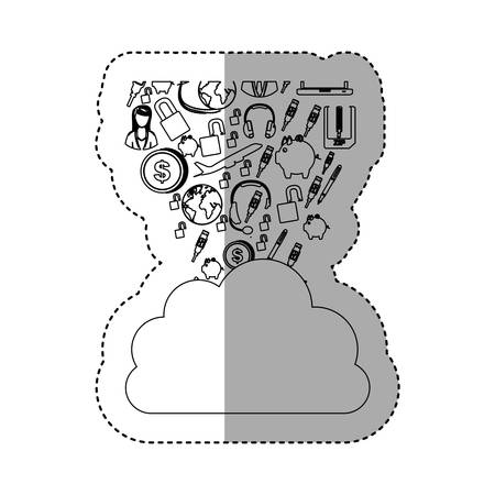 sticker contour cloud in cumulus shape with set collection investment and tech vector illustration