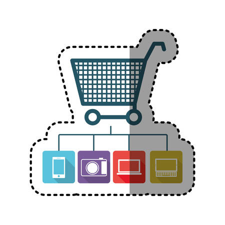 sticker colorful shopping cart buy online icon stock vector illustration