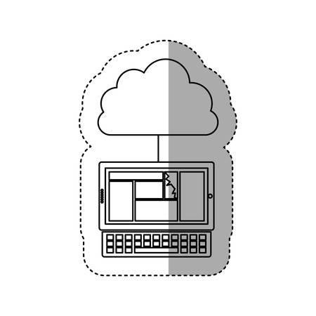 cumulus cloud: sticker contour cloud in cumulus shape connected to laptop vector illustration Illustration