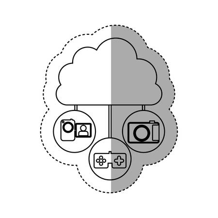 sticker contour cloud in cumulus shape connected to tech device vector illustration Illustration