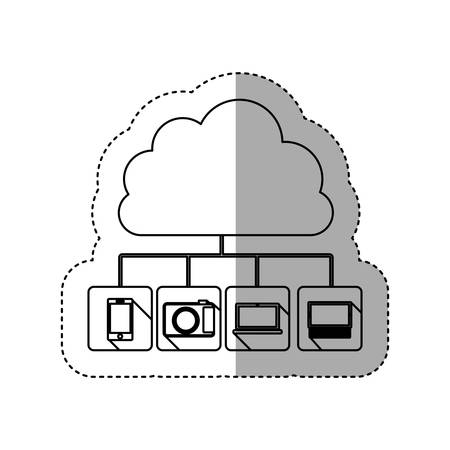 portable console: sticker contour cloud storage in cumulus shape connected to tech device vector illustration Illustration