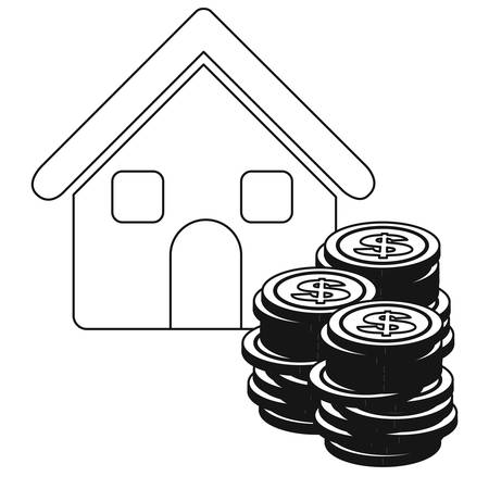stacking: monochrome contour with house and stacking coins vector illustration