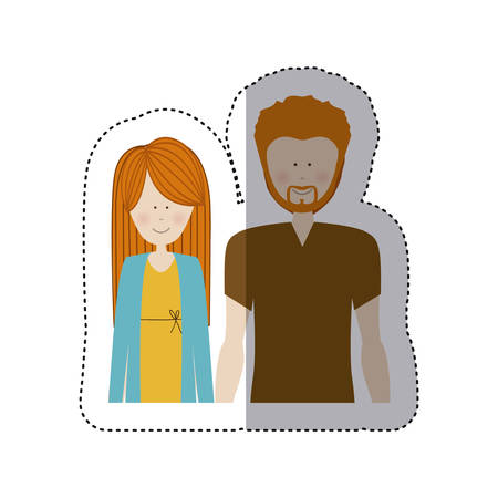 color sticker half body with man with beard and woman with long hair vector illustration
