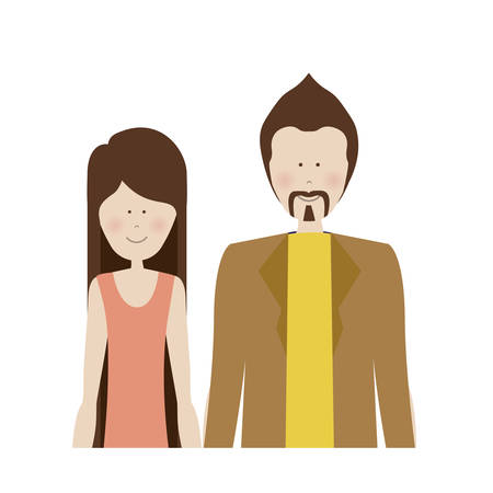 boy long hair: color silhouette half body with woman in shirt and man with mustache vector illustration