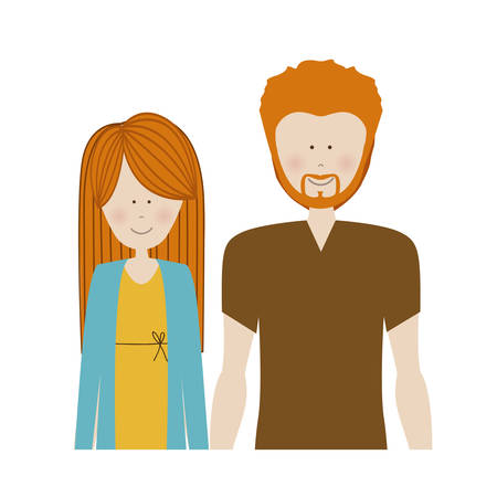boy long hair: color silhouette half body with couple redhead and man with beard vector illustration Illustration