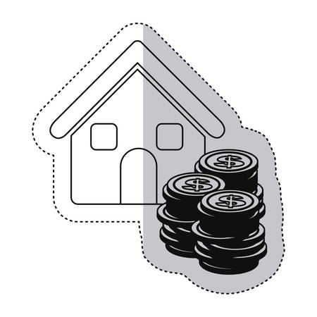 stacking: sticker monochrome contour with house and stacking coins vector illustration Illustration