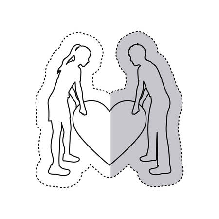 embraced: sticker monochrome contour with couple holding a big heart vector illustration