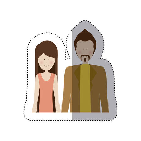boy long hair: sticker color silhouette half body with woman in shirt and man with mustache vector illustration