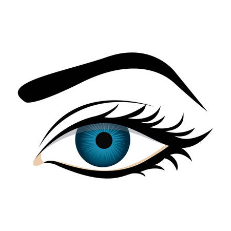 color silhouette with female eye and eyebrow vector illustration