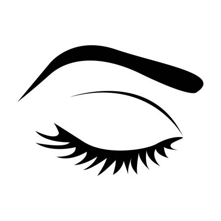 color silhouette with female eye closed and eyebrow vector illustration Illustration