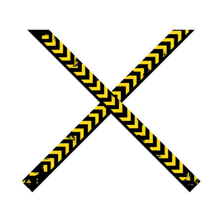 cordon: color silhouette with police line tape crossed vector illustration