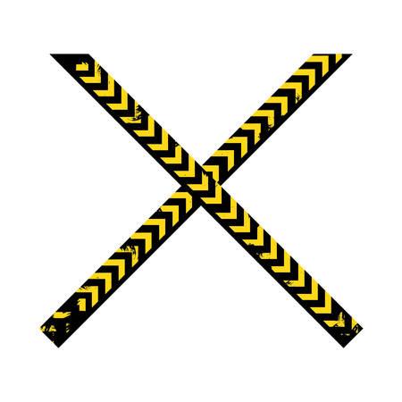 Farbe Silhouette mit Polizei Linie Band gekreuzt Vektor-Illustration Illustration