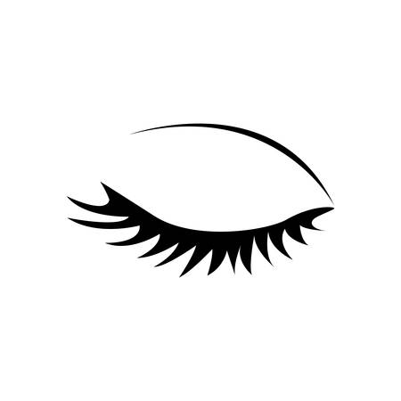 monochrome silhouette with female eye closed vector illustration