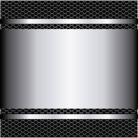 metallic grill background with plate and screws vector illustration