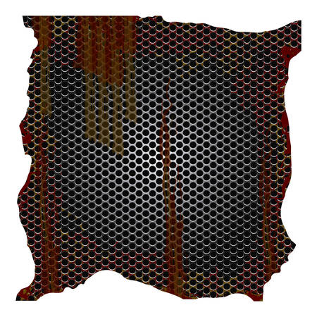 dirty and rusted metallic grill perforated vector illustration
