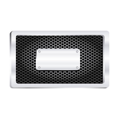 rectangle frame metallic with grill perforated and shiny brushed plaque vector illustration Illustration