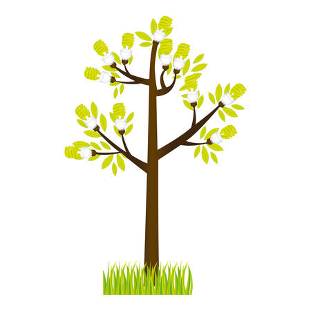 colorful silhouette tree leafy with grass vector illustration